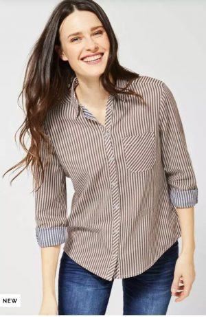 cecil shirt cecil stripe shirt cecil 100% cotton shirt cecil brown shirt
