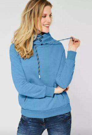 cotton mix sweathshirt high neck sweatshirt kangaroo pocket sweatshirt blue sweatshirt cecil sweatshirt sweatshirt