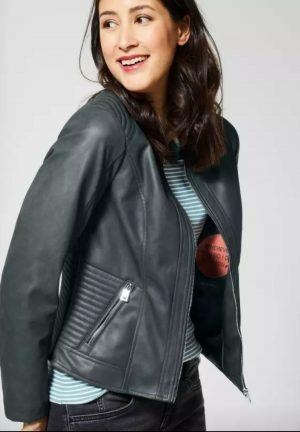 cecil pu jacket biker style green grey faux leather jacket