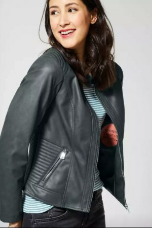 cecil pu jacket biker style green grey faux leather jacket