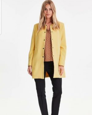 b young dala coat cornsilk round neck coat longer length blazer