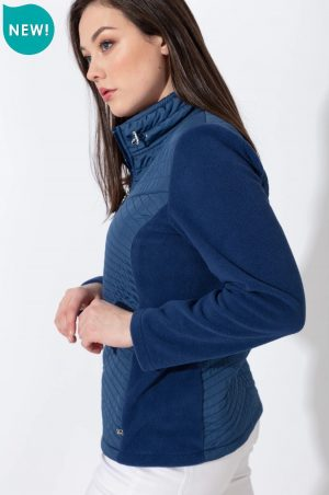 paco kym quilt and fleece navy fleece jacket zip up fleece paco jacket
