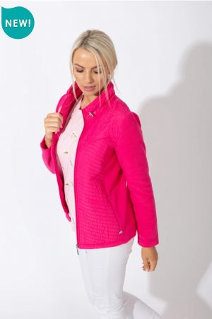 paco kym quilt and fleece pink fleece jacket zip up fleece paco jacket