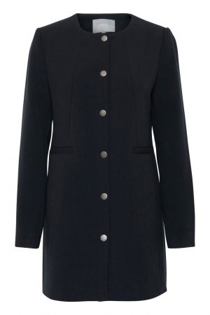 b young dala coat copenhagen night navy round neck coat longer length blazer