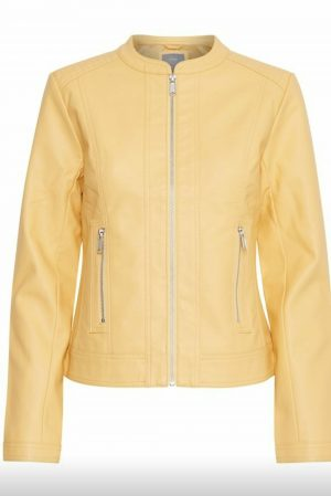 pu jacket byoung acom corn silk light yellow faux leather jacket
