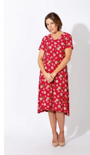 paco v neck flower dress red floral print short sleeve dress