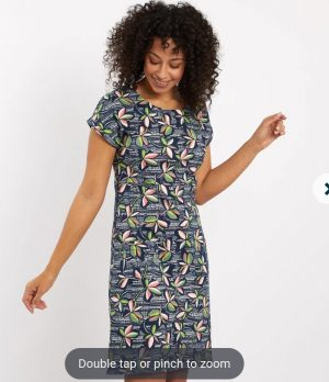 weirdfish tallahassee printed dress short sleeve summer dress with two front pockets navy