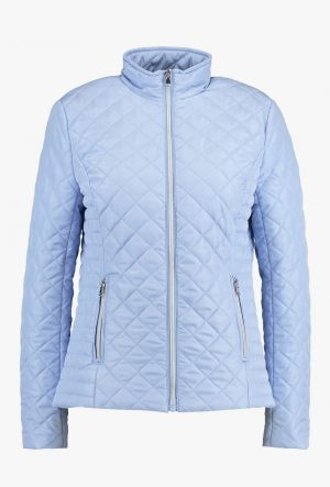 Amanda Jacket Sky Blue by B Young quilted summer jacket b young amanda quilt short jacket zip front with zip pockets navy