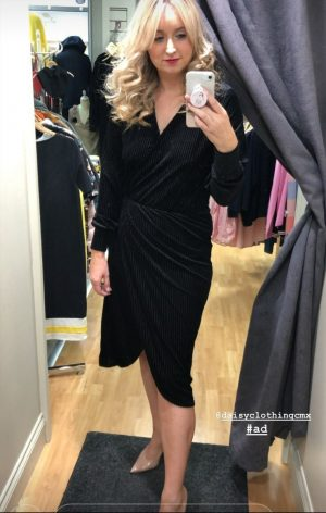 Ellie-Dr Black by FreequentBeautiful velour self stripe faux wrap dress with flattering elastic waist.