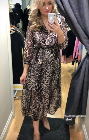 kate & pippa faux wrap animal print dress leopard print dress elastic waist brown print dress long dress