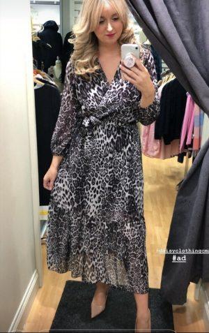 kate & pippa faux wrap animal print dress leopard print dress elastic waist black print dress long dress