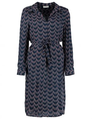 Freequent Sus Dr Navy Blazer Mix belted shirt dress with collar and long sleeve