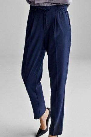 FqLizy-Pa navy by Freequent trousers for work 30inch leg slim trouser with elastic waist