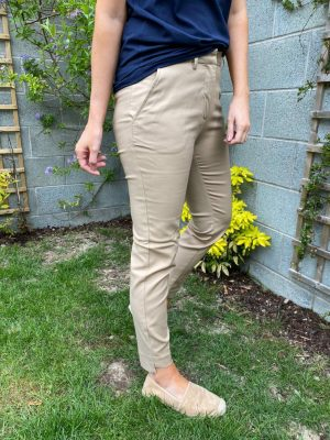 Freequent FqIsabelle-Ankle-Pa-New Navy 7/8th length navy trouser for work stone sand neutral trouser with pockets dressy slim leg trouser trouser with slits on the ankles