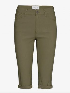 FqAmie-Sho-Power Burnt Olive kakai by Freequent shorts for golf stretch knee length shorts with pockets