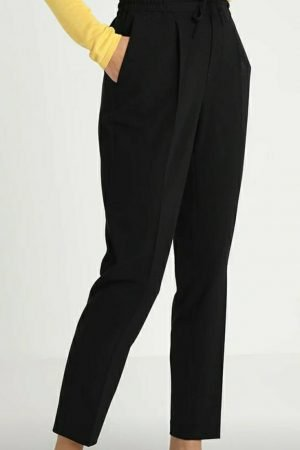 FqLizy-Pa Black by Freequent trousers for work 30inch leg slim trouser with elastic waist