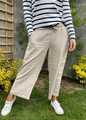 Freequent FqLava-Pa-7/8 sand wide leg summer trouser croppped wide leg trouser