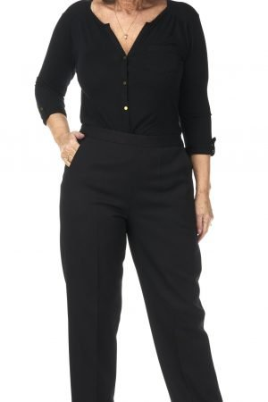 "Pinns iris black trouser 29"" leg half elastic waist"