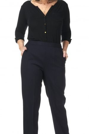 """Pinns iris navy trouser wider leg 29"""" half elastic waist"""