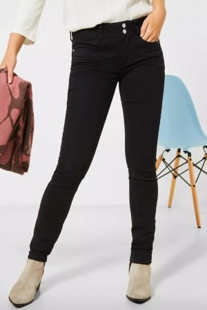 street one black jeans high waist slim leg made using repreve fabric made from recycled plastic bottles