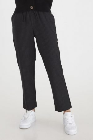 b young stripe pants with elastic waist and drawstring