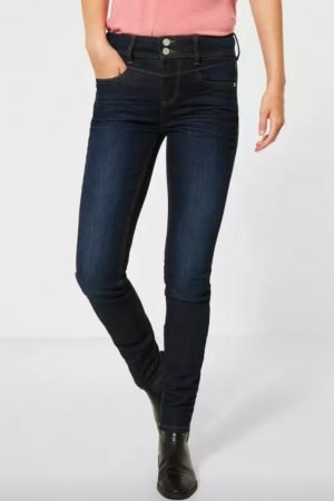 street one york jeans made from repreve recycled bottles slim leg high waist dark blue