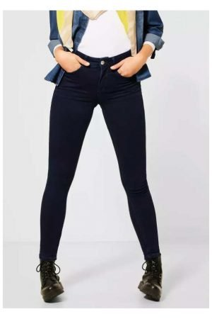 Dark blue slim fit denim dark blue jeans with high waist street one 30 inch leg length
