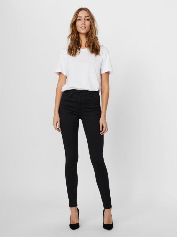 vero moda sophie skinny jean high waist 30inch leg black