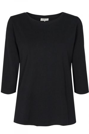 freequent round neck with 3/4 sleeve black top 95% cotton