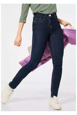 cecil toronto jeans high waist slim leg dark blue