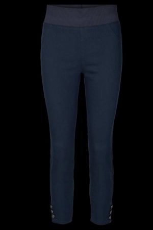 freequent shantal 7/8th button navy high elastic waist ankle grazer jeggings