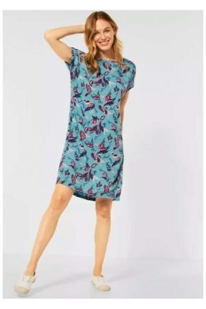 cecil print straight dress with short sleeve and pockets