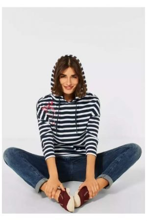 cecil 100% cotton striped hoody hooded top sweatshirt