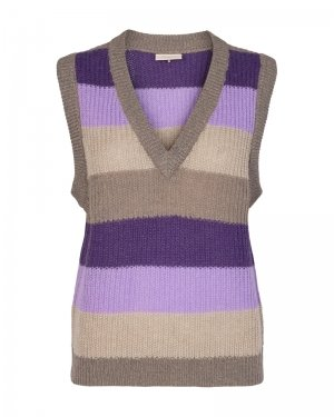 freequent striped knit tank top with v neck